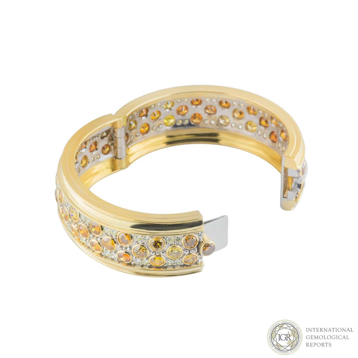 White and Yellow Diamond Bangle
